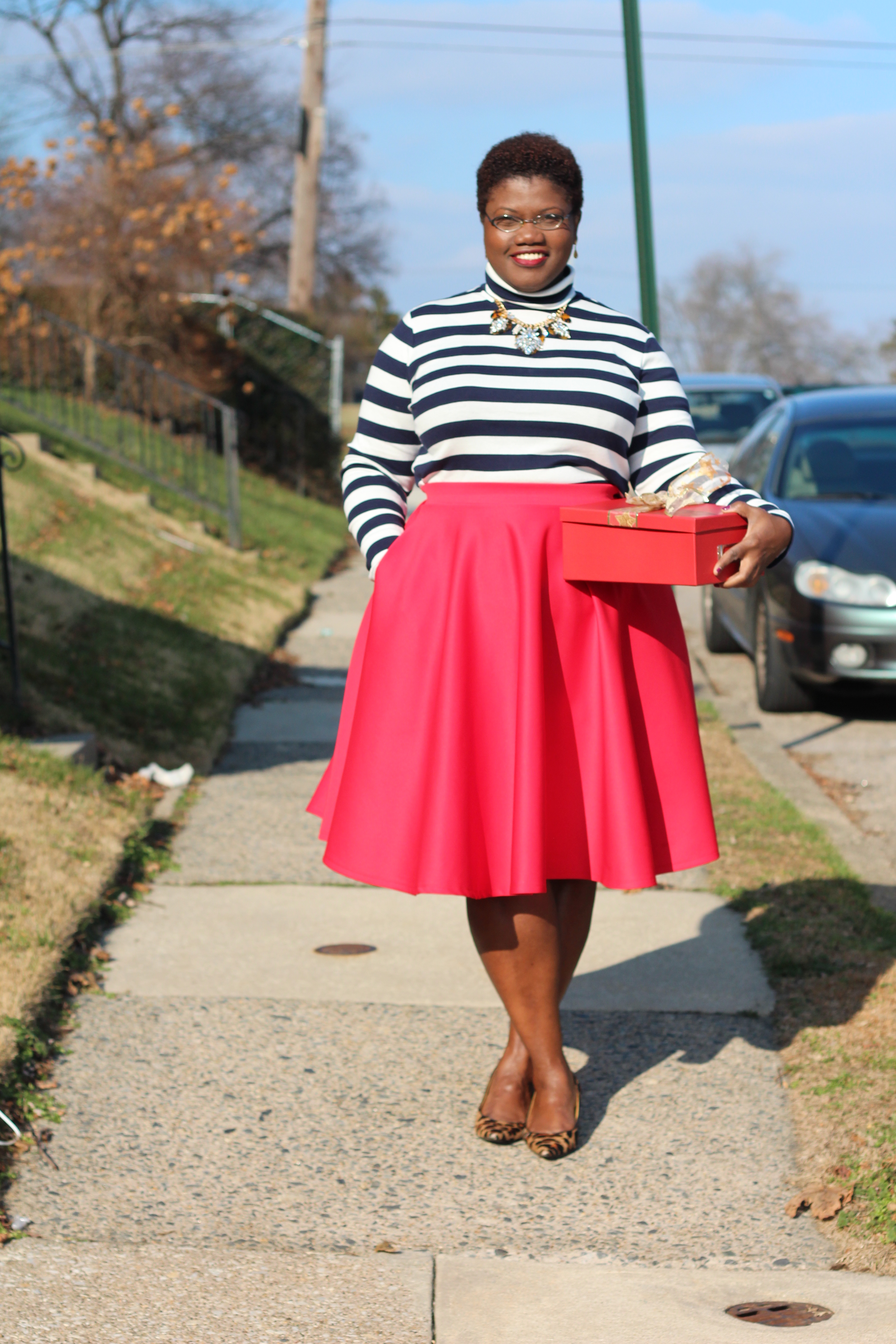 plus size fashion, plus size, midi skirts, color blocking, monochrome, plus size bloggers, plus size blogs, curvy bloggers, curvy blogger, leopard print, stripes, winter, winter fashion,  pencil skirts, sequins, off the shoulder tops, grown and curvy woman, grown and curvy woman blog, grown and curvy, plus size holiday fashion, statement necklace