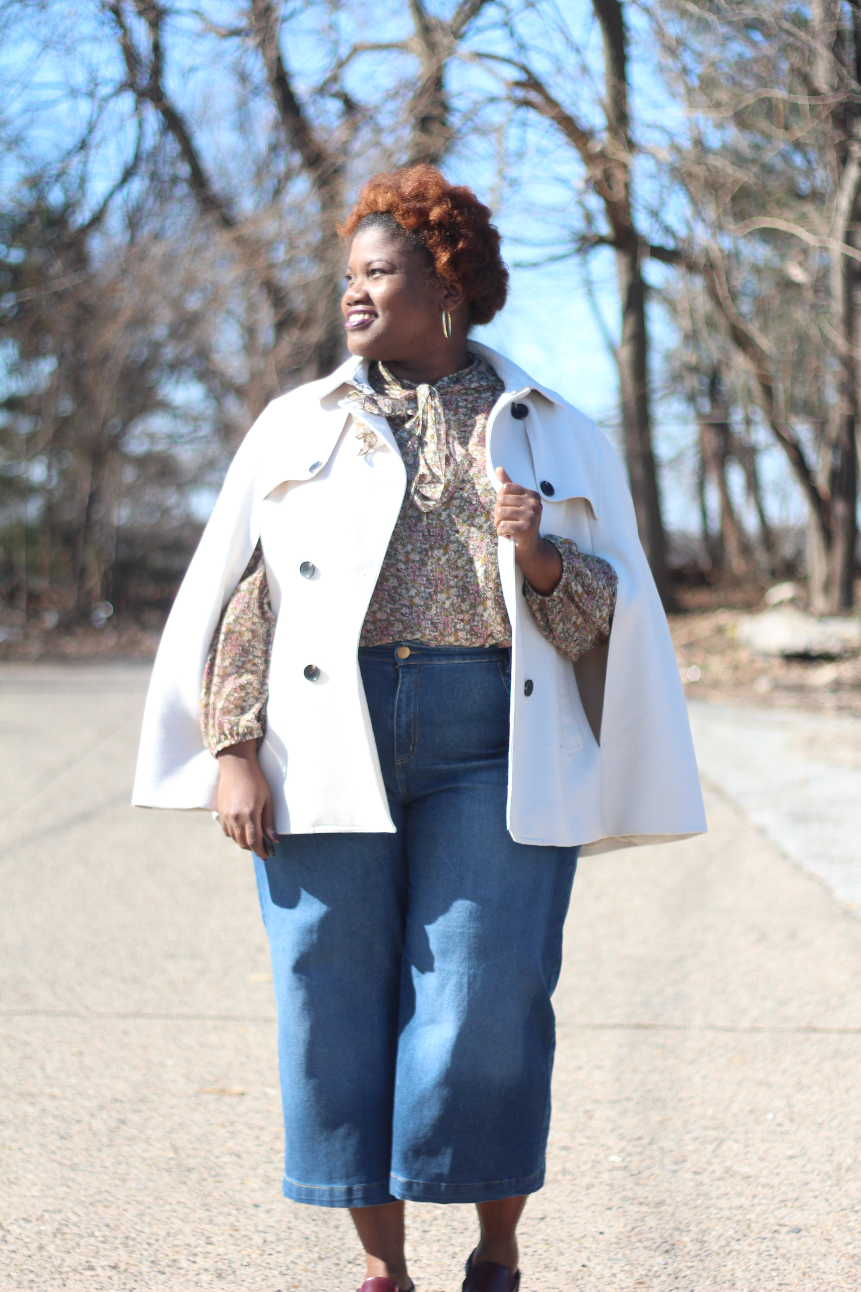 plus size clothing, plus size blogs, plus size fashion, plus size bloggers, capes, tie neck blouse, culottes, denim culottes, slip on sneakers, spring, eloquii, curvy women, curvy woman, curvy girl, curvy blogs, curvy bloggers, natural hair