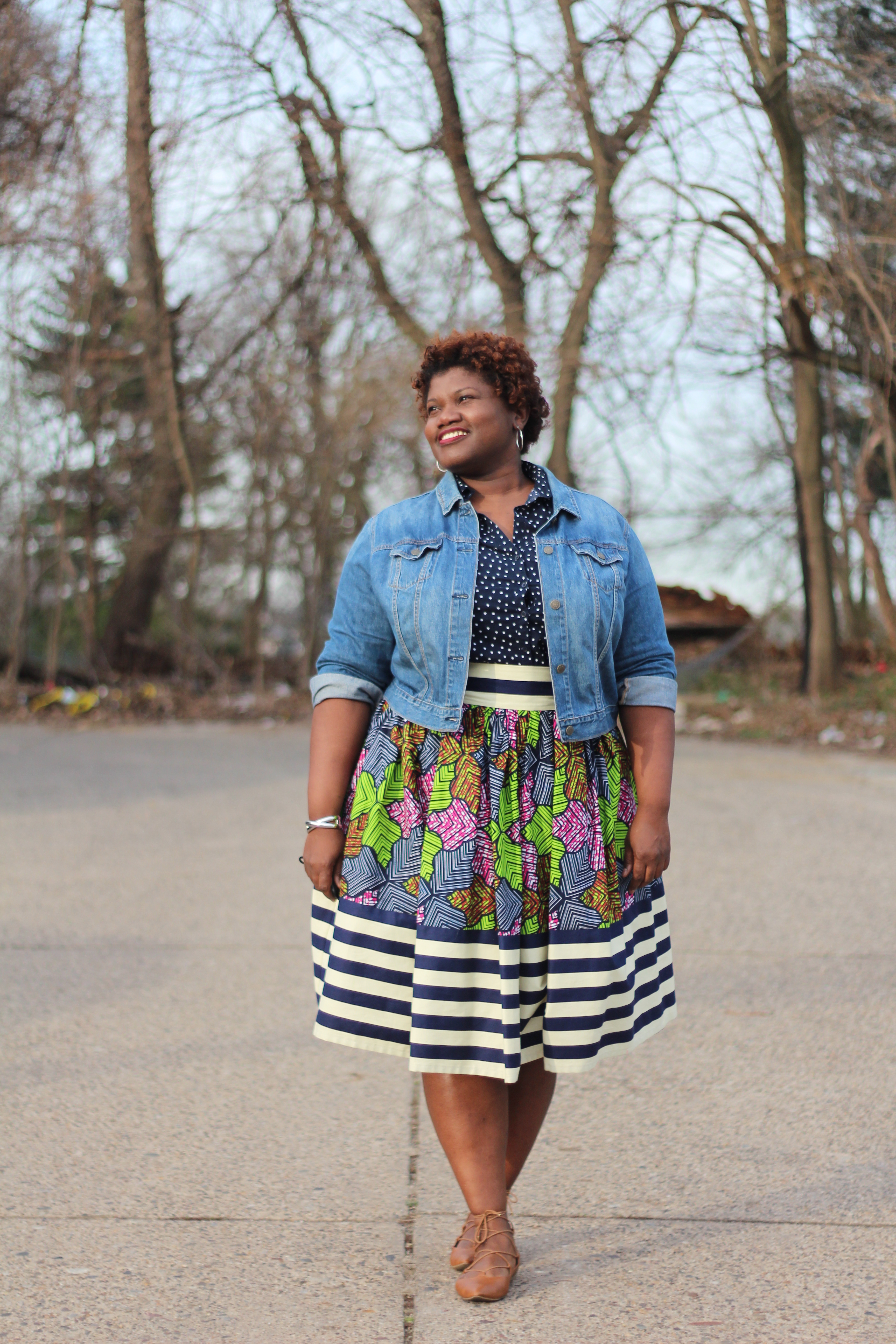 plus size fashion, plus size skirts, plus size midi skirts, african print skirts, mixed print, plus size fashion blog, plus size fashion blogger, curvy blogs, curvy bloggers, lace up flats, nordstrom flats, spring fashion, spring trends, curvy women, curvy girls, nude flats, polka dots, plus size blogger, plus size fashion blogger