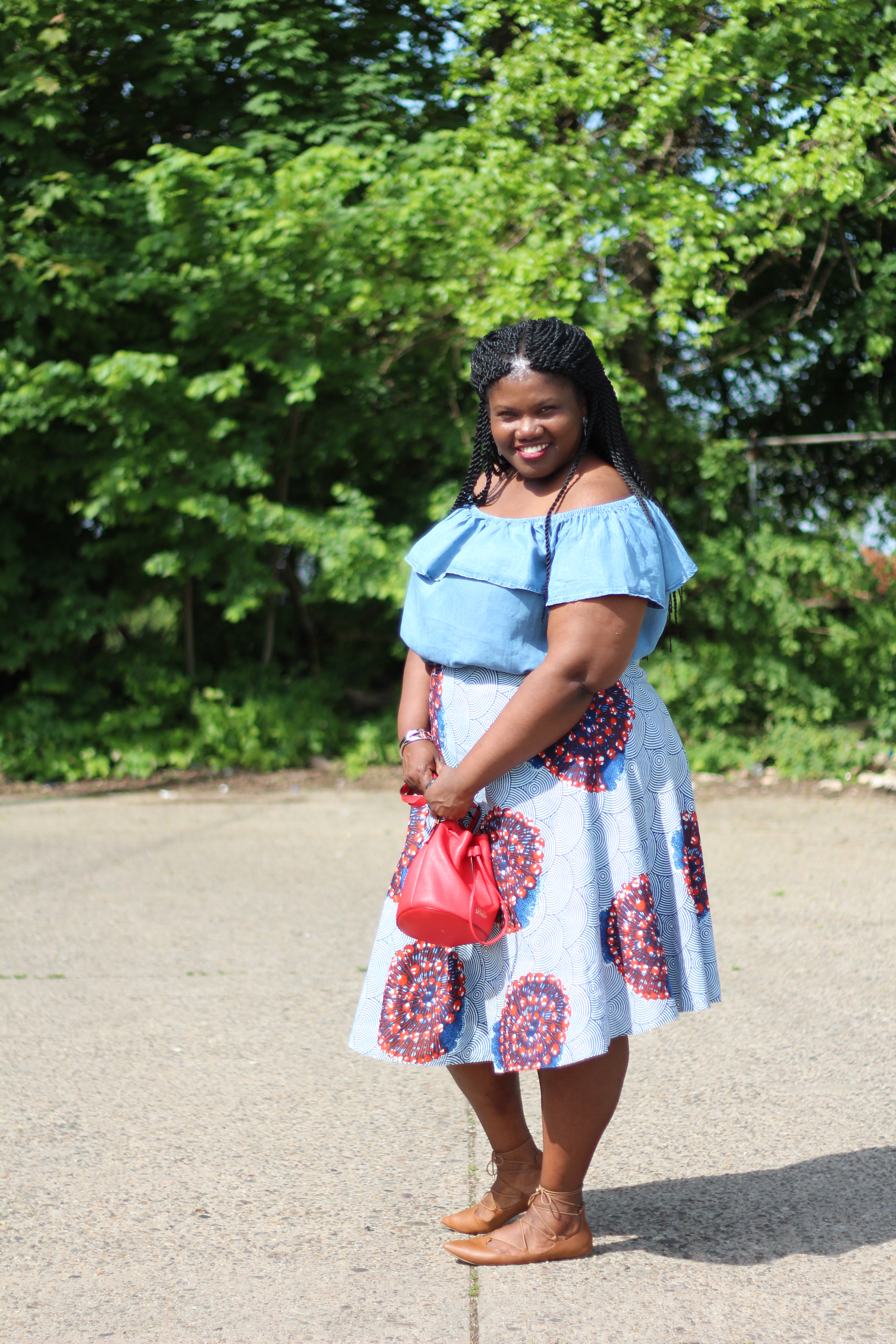 midi skirts, off the shoulder tops, summer trends, pattern skirts, african print skirts, plus size skirts, asos, mini bags, mini bucket bags, lace up flats, nordstrom, curvy, curvy women, curvy blogs, curvy bloggers, plus size blogs, plus size bloggers, natural hair, grown and curvy woman, blogs for women over 40, over 40 blogs, over 40 bloggers