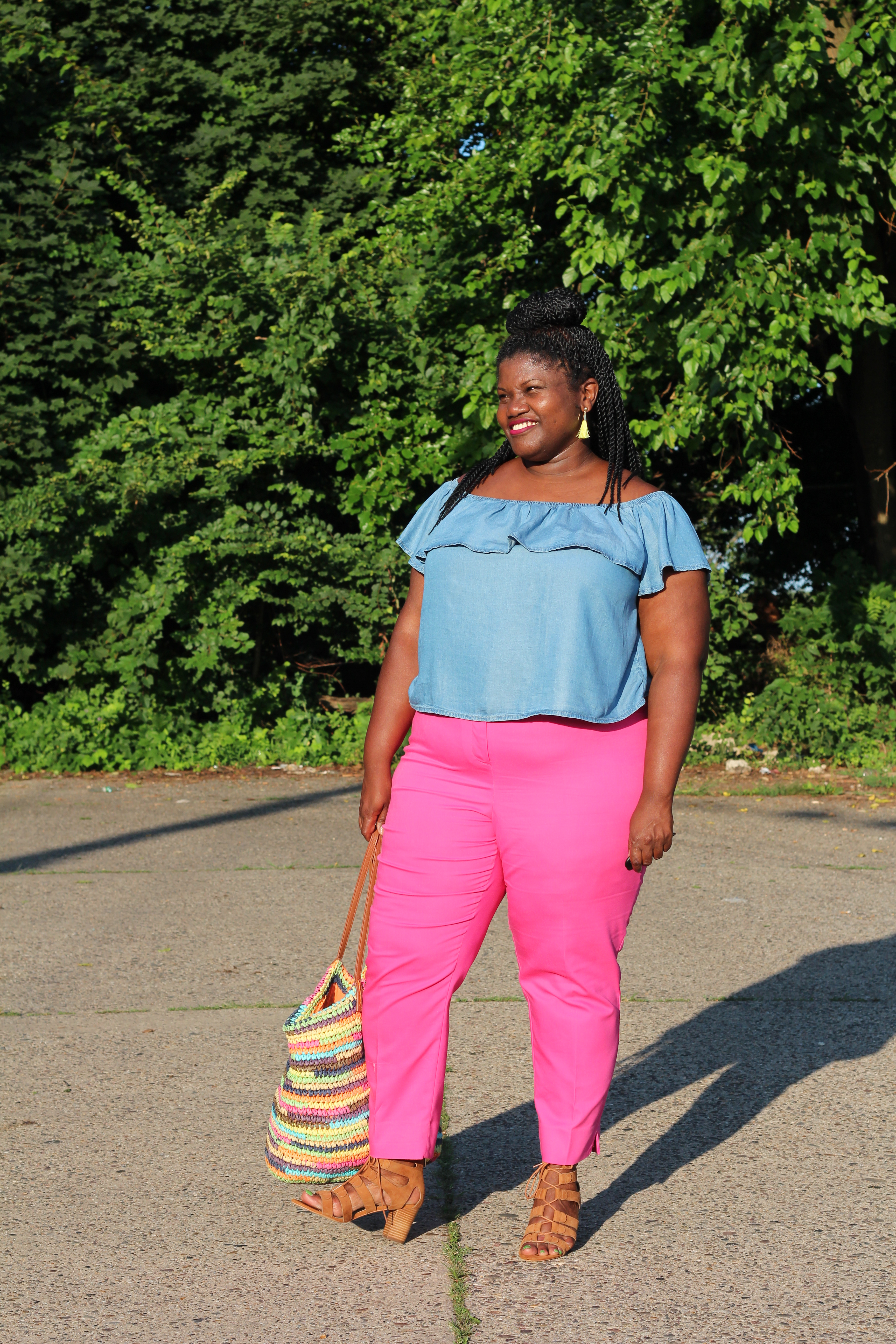plus size, plus size blogs, plus size bloggers, lane bryant pants, ankle pants, ankle pants for plus size women, off the shoulder tops, denim tops, off the shoulder denim tops, straw bags, old navy, asos, curvy, curvy women, curvy girls, summer styles, summer