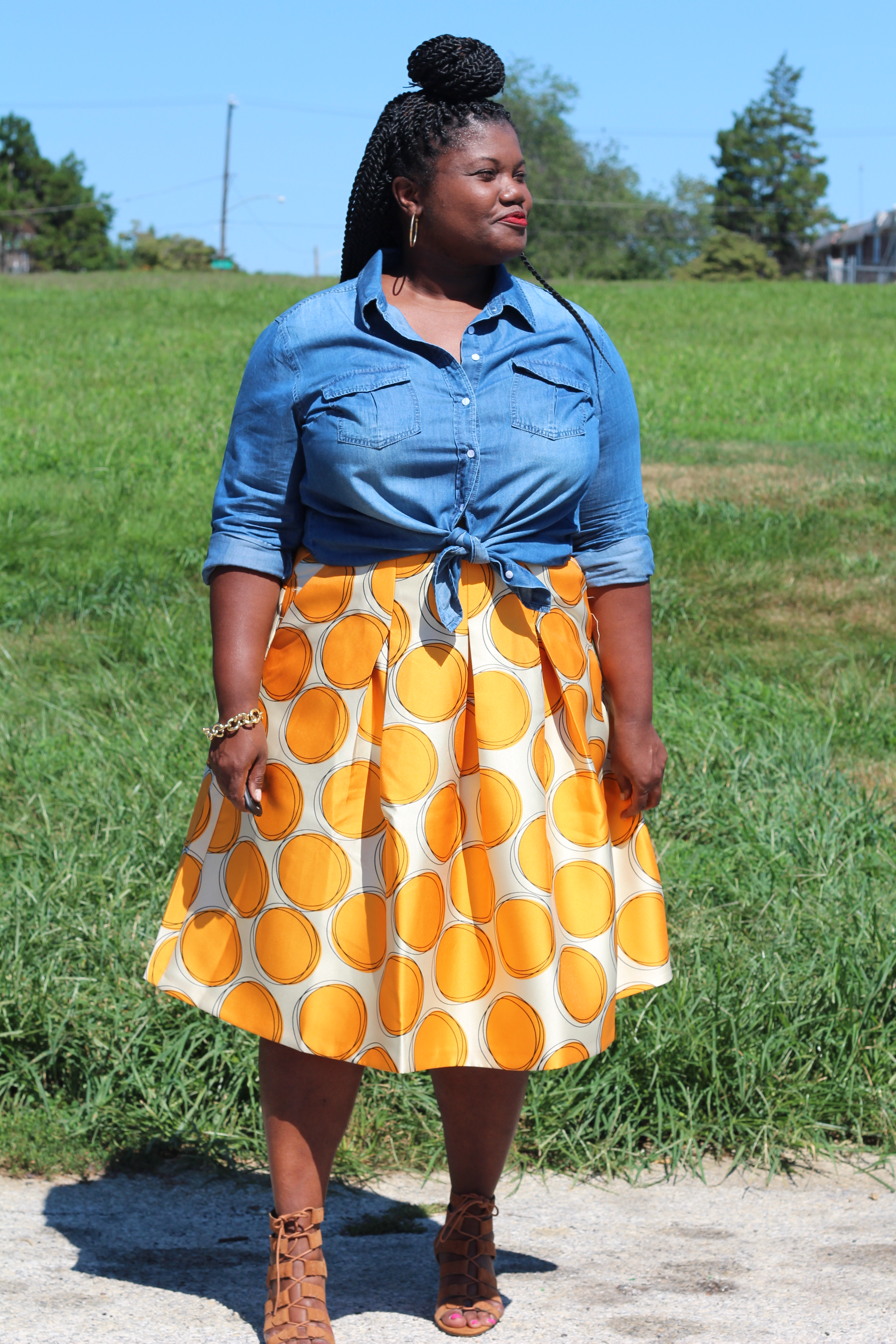 plus size fashion, lane bryant, midi skirt, plus size midi skirt, denim shirt, plus size denim shirts, lace up sandals, marc fisher, natural hair, plus size blogs, plus size bloggers, curvy women, curvy, curvy blogs, curvy bloggers, plus size fashion blogs, plus size fashion bloggers
