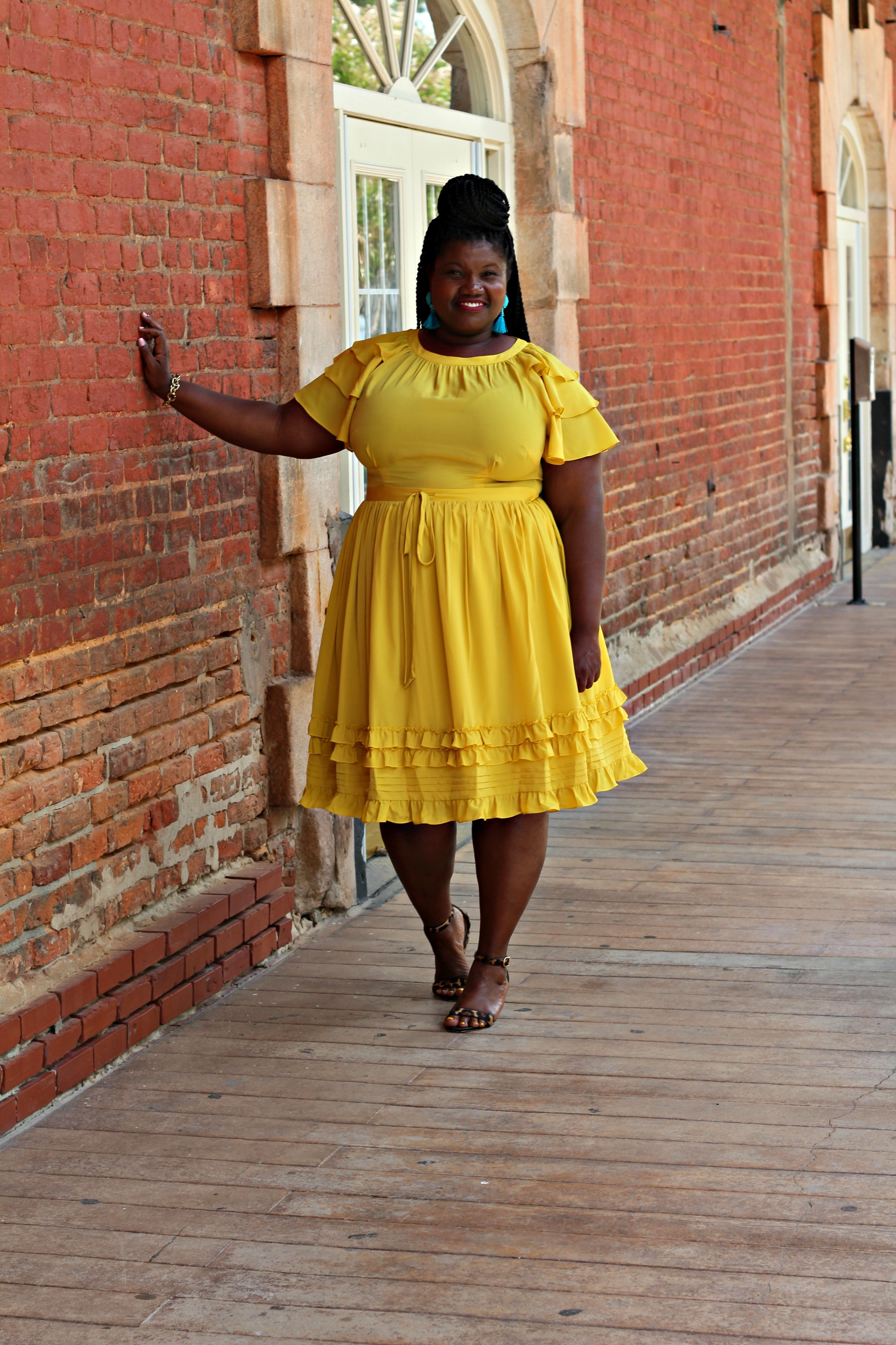 plus size dresses, eloquii, yellow dresses, plus size, tcf style expo, atlanta, leopard print wedges, jcrew, midi dresses, tassel earrings, plus size fashion, natural hair, target, who what wear collection , sheer plus size blouse, gold pleated skirt, gold midi skirt, lane bryant skirt, h&m, block heels, midi skirts, plus size midi skirts, curvy bloggers, curvy blogs, plus size blogs, plus size bloggers