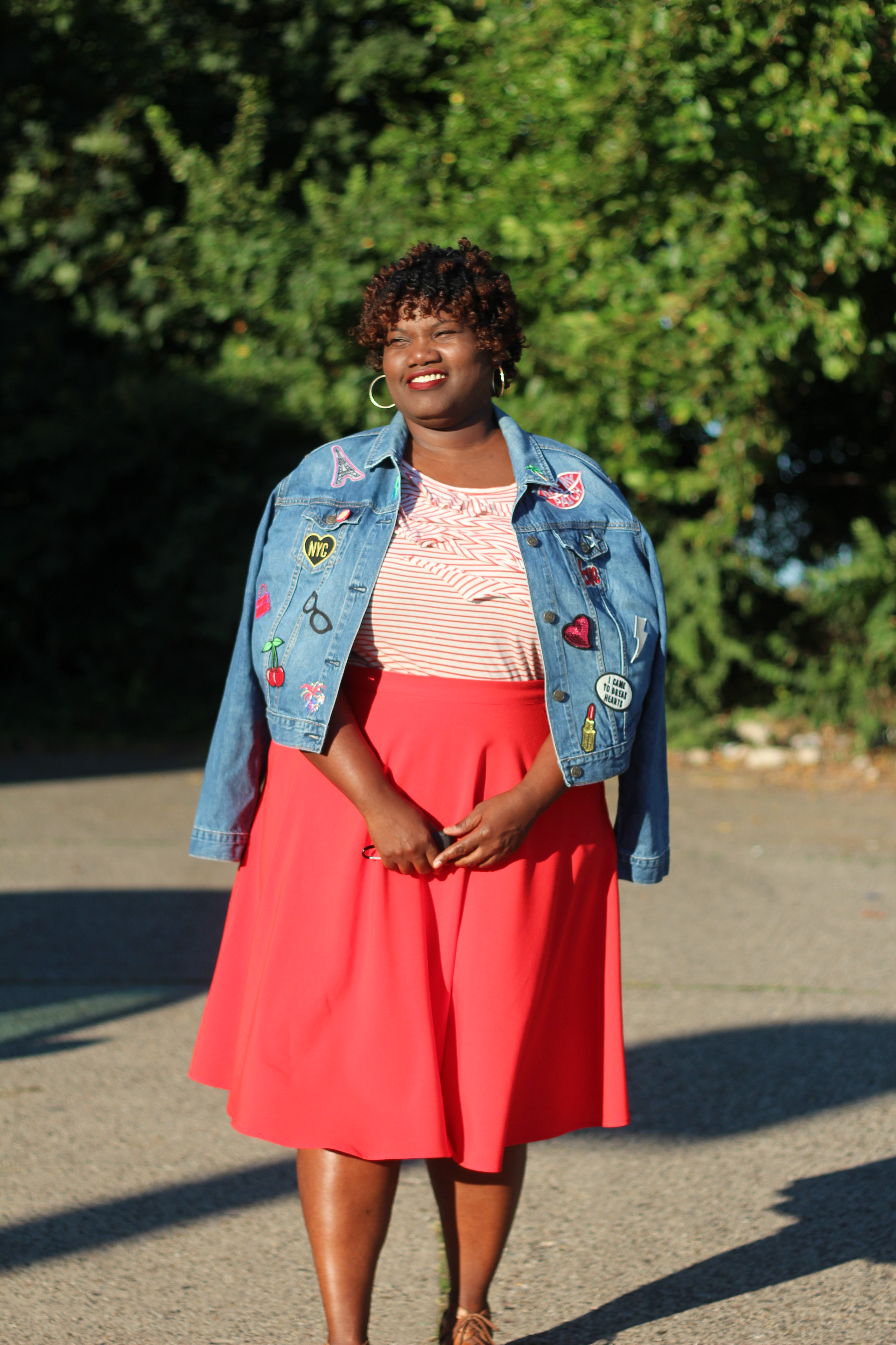 DIY, patch denim jacket, plus size denin jackets, denim jackets, fall, patches, curvy women, curvy girl,  curvy bloggers, curvy blog, blogs, fashion bloggers, fashion blog, plus size blogs, plus size bloggers, red, midi skirts, stripe shirt, stripes, stripe outfit, summer, late summer