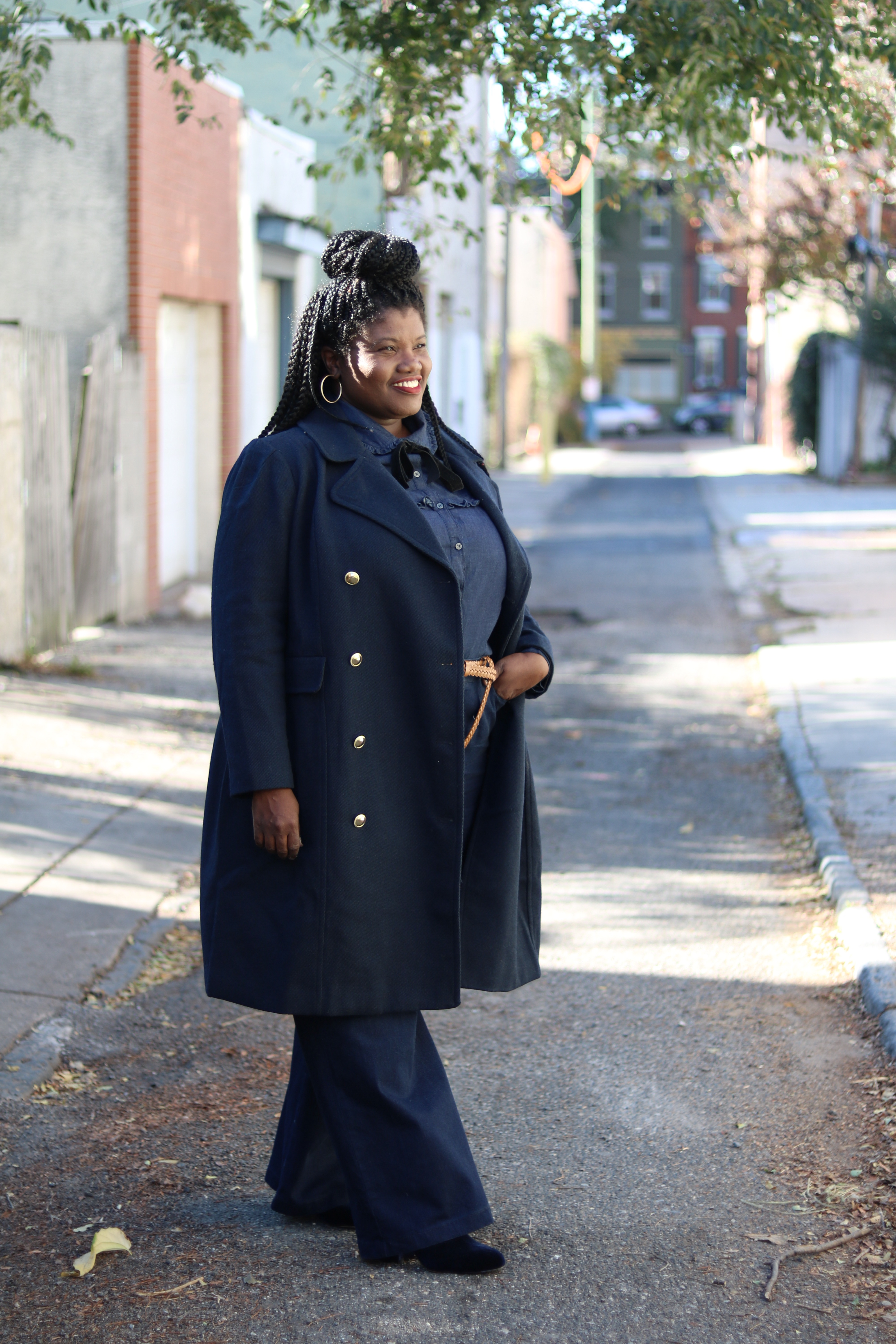 denim on denim outfit, eloquii, plus size coats, plus size jeans, plus size denim shirt, jeans, plus size denim, booties, velvet booties, tie neck shirt, plus size coats, plus size blog, plus size blogger, plus size blogs, curvy blogs, curvy bloggers, fashion blogs, personal style blog for women