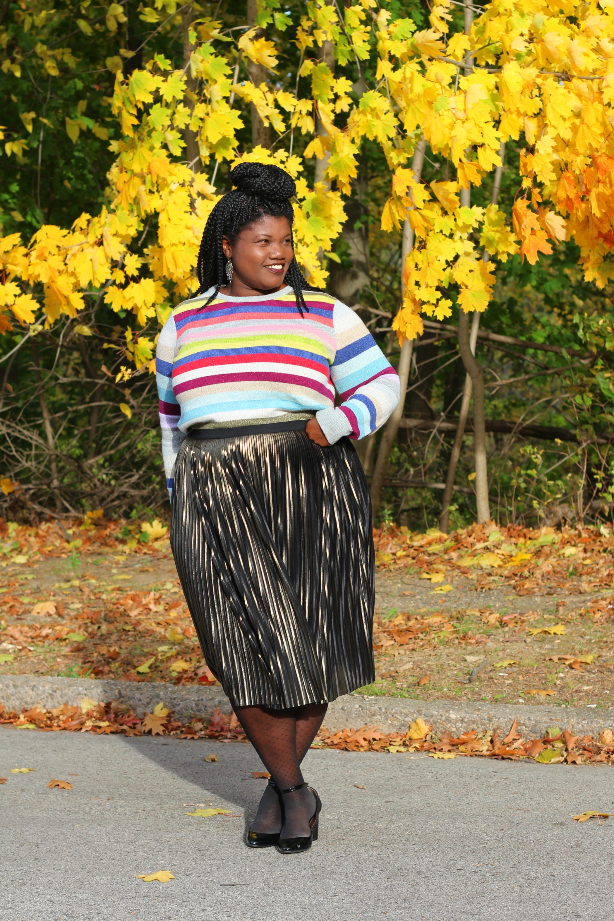 b7d55974d2bbf Thanksgiving Outfit  Striped Sweater + Metallic Skirt – Grown and ...
