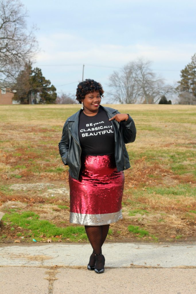 black women, black girl magic, plus size skirts, plus size sequin skirts, lane bryant x glamour collaboration, lane bryant skirts, lane bryant sequin skirt, plus size fashion, lane bryant, plus size motorcycle jacket, motorcycle jacket, wedge heels, asos curve, plus size blogs, plus size bloggers, curvy, curvy women, curvy girls, curvy blogs, curvy blogger