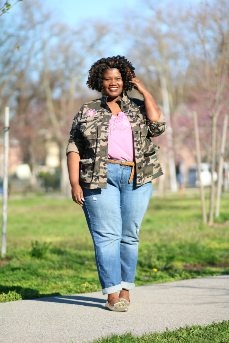 plus size clothing, plus size jeans, straight leg jeans, camo jacket, patched jacket, plus size utility jacket, utility jacket with patches, plus size utility jacket with patches, gold flats, plus size blog, plus size bloggers, plus size jeans, deconstructed denim, plus size denim, plus size blouses, plus size blog, plus size blogger, curvy, curvy bloggers, curvy blog, curvy women, eloquii, eloquii blouses, feather blouse, lane bryant jeans, lane bryant clothes