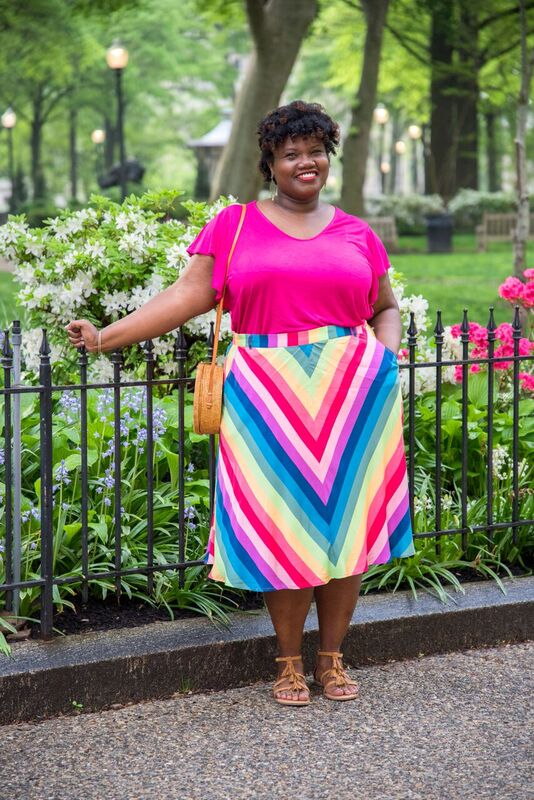 modcloth skirt, midi skirt, multi color skirt, stripe skirt, multi stripe skirt, old navy, v neck t shirt, pink outfit, tassel sandals, ruffle sleeve shirt, wicker bag, round wicker bag, etsy, old navy shirts, plus size midi skirt, plus size skirts, plus size blogs, plus size bloggers, curvy, curvy blogs, curvy bloggers