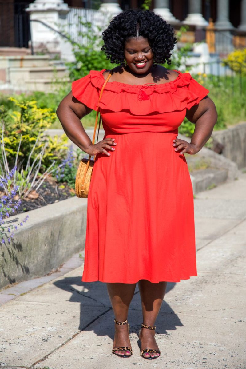 off the shoulder dresses, off the shoulder dress, wicker bag, round wicker back, etsy, leopard print wedges, leopard print shoes, jcrew dresses, dresses, midi dresses, plus size midi dress, natural hair, plus size blog, plus size bloggers, curvy, curvy women, curvy bloggers, curvy blogs, black women, black women blogs, blogs by black women