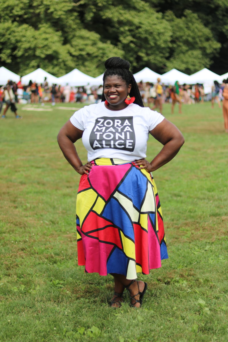 curvy girl, plus size fashion, plus size midi skirt, midi skirt, graphic t shirt, for harriet t shirt, jibri, jibir skirt,, patched skirt, plus size blogger, plus size blog, natural hair, curlfest, curlfest 2017, prospect park, natural hair events, curvy, curvy girls, curvy blogs, curvy bloggers