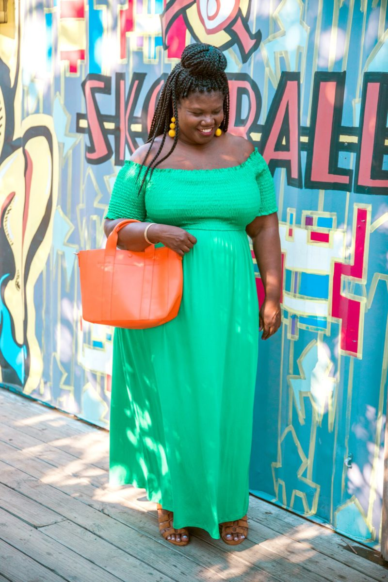 plus size, plus size fashion, plus size maxi dress, off the shoulder maxi dress, plus size off the shoulder dress, green dress, green maxi dress, summer dresses, summer maxi dresses, colorblocking, statement earrings, bauble bar crispin earrings, plus size blogs, plus size blogger, curvy women, curvy, curvy plus size blogs, curvy girls, curvy fashion, ASOS Curve dresses, ASOS curve dress, ASOS, ASOS Curve