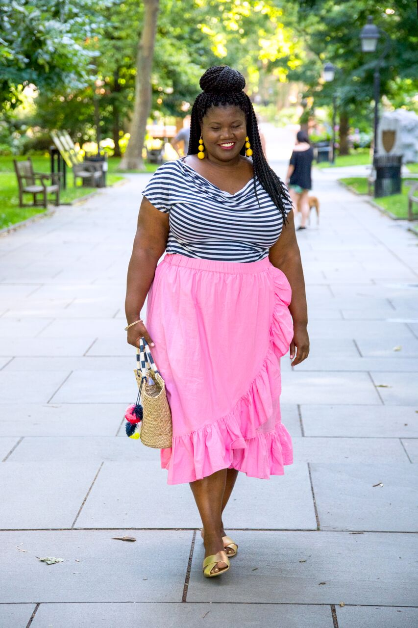 plus size, plus size fashion, plus size clothes, wrap skirts, ruffle wrap skirts, asos midi skirts, asos, midi skirts, stripes, stripe shirt, cowl neck shirt, woven bag, beach bag, pom poms, crisscross sandals, flat sandals, ALDO sandals, statement earrings, baublebar earrings, bauble bar crispin drops, curvy, curvy woman, curvy girl, curvy blogger, curvy blogs