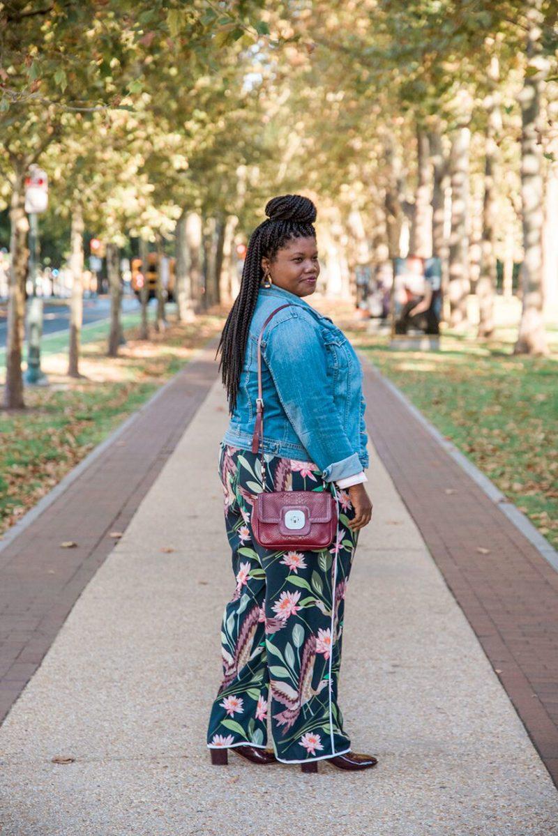 plus size fashion, plus size fashion blogs, plus size bloggers, floral pants, plus size floral pants, eloquii pants, eloquii, wide leg pants, plus size wide leg pants, ankle boots, stripe shirt, gap shirts, Gap, denim jackets, plus size denim jackets, fall fashion, fall, curvy, curvy women, curvy girls, curvy blogger, curvy blogs, blogs for curvy women, simply be boots, wide width ankle boots
