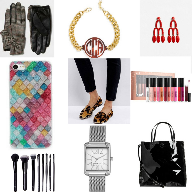 gifts under $50, christmas gifts under $50, $50 and under christmas gifts, faux leather gloves, statement earrings, monogram bracelet, iphone case, leopard print loafers, sephora lipstick set, make up brush set, silver watch, faux leather tote, patent leather tote bag, asos shoes, flat shoes, mango earrings