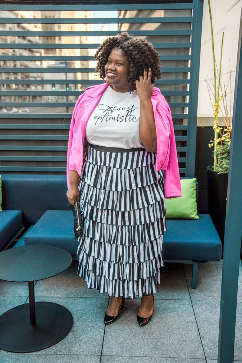 plus size clothing, plus size fashion, danity jewells, modest clothing, maxi skirt, tiered skirt, tiered maxi skirt, stripes, graphic print shirt, moto, motorcycle jacket, bold colors, plus size bloggers, plus size blog, curvy, curvy bloggers, curvy fashion blogs, curvy women