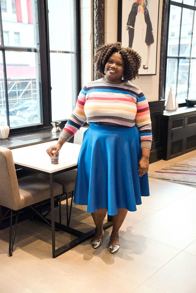 plus size fashion, plus size midi skirt, stripe sweater, gap crazy stripe sweater, silver flat, plus size blogger, plus size bloggers, plus size blog, curvy, curvy women, curvy bloggers, curvy blog, color blocking, asos midi skirt