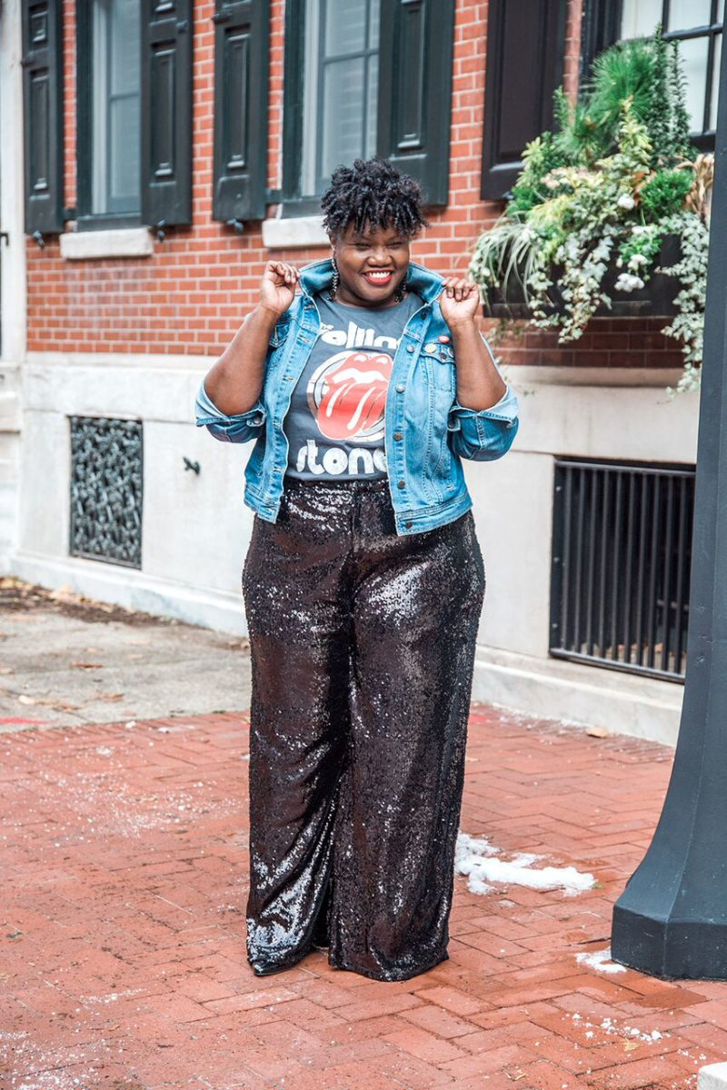 plus size fashion, sequin pants, palazzo pants, palazzo sequin pants, h&m, graphic t shirts, denim jackets, old navy plus size, plus size blogger, plus size blogs, curvy, curvy bloggers, curvy blogs, curvy women, curvy girls, curvy fashion, sequins, new years eve, outfits for nye