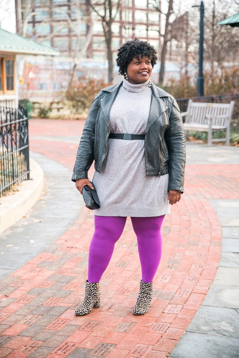 plus size fashion, plus size sweater dress, tracey ellis x jcp, plus size colored tights, colored tights, j crew, ankle boots, moto jacket, plus size moto jacket, ASOS Curve, plus size fashion, plus size blogger, plus size blog, curvy, curvy women, curvy bloggers, curvy fashion, curvy blog, blogs for women over 40, over 40 blogger