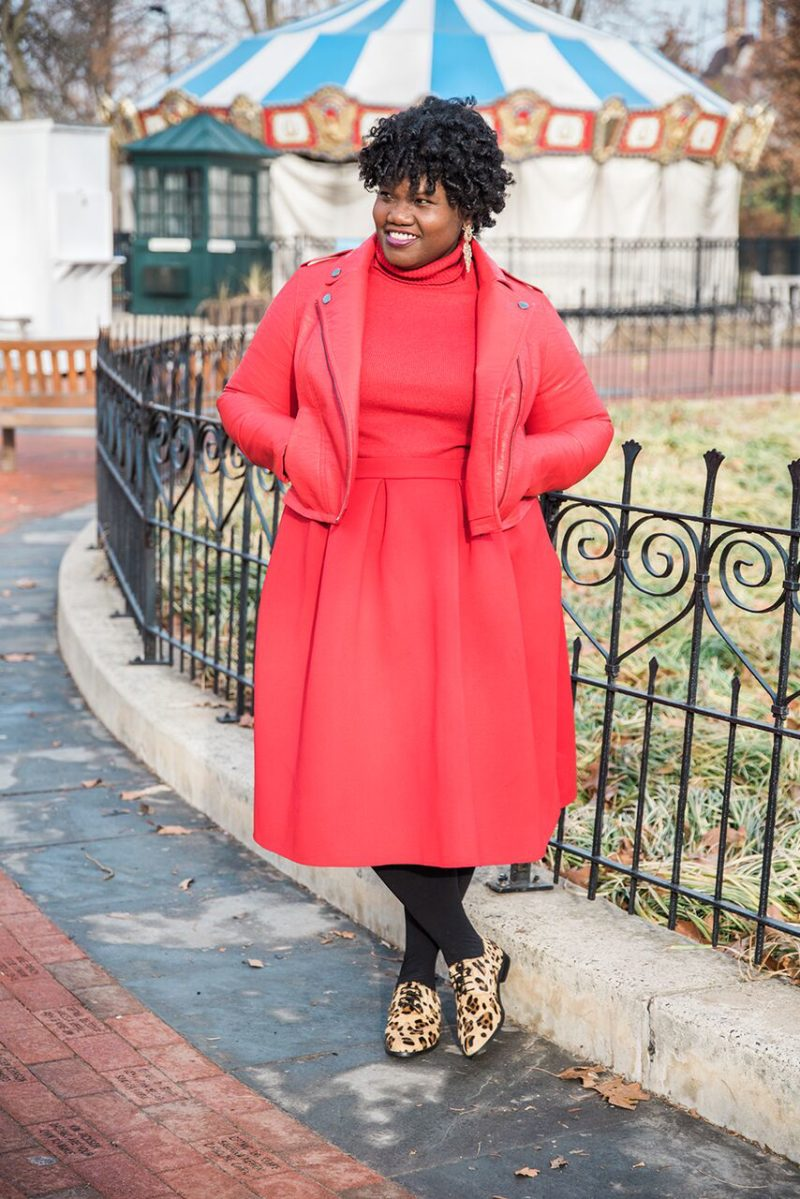 monochromatic, red, plus size red skirt, midi skirt, brogues, leopard print, moto jacket, plus size moto jacket, plus size fashion, plus size blogger, bloggers over 40, plus size, plus size blogs, curvy, curvy women, curvy bloggers, curvy blogs