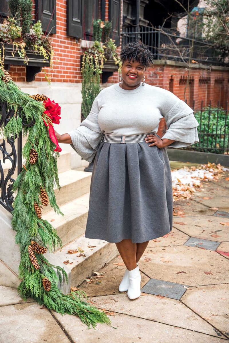 plus size fashion, plus size midi skirt, grey, white booties, white ankle boots, zara booties, zara ankle boots, eloquii, statement sleeve sweater, who what wear collection, plus size sweaters, plus size bloggers, plus size blogs, curvy, curvy women, curvy bloggers, curvy blogs